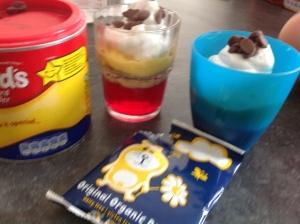 Mini trifles in glasses or plastic beakers